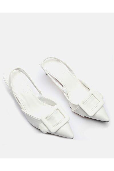 Kadın Beyaz İnce Topuk Ayakakbı