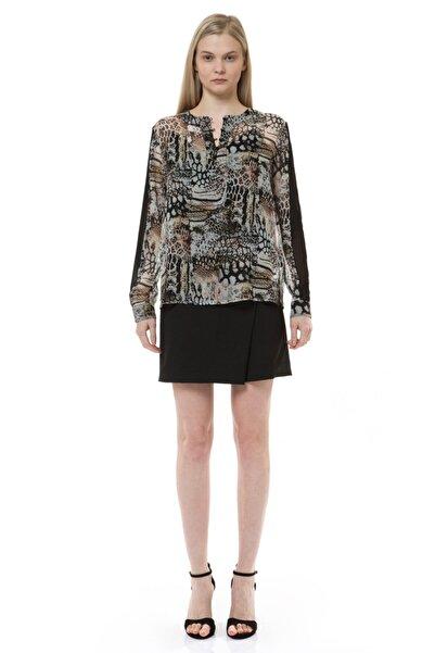 Kadın Kahverengi Leopar Baskılı Şifon Detaylı Bluz