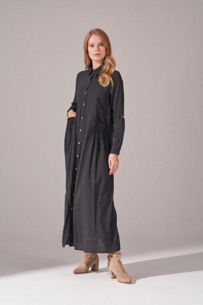 Kadın Siyah Cepleri Nervur Dikişli Elbise