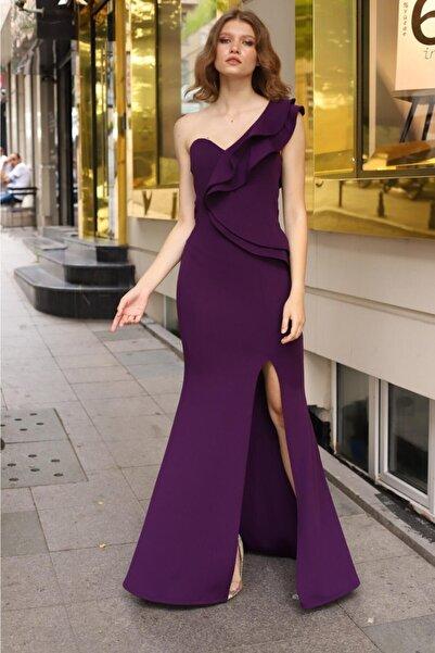 Esnek Krep Kumaş Tek Omuz Detaylı Mor Uzun Abiye Elbise Purple Maxi Prom Dress