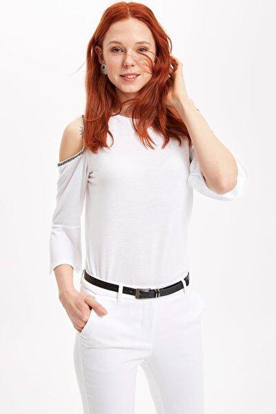Kadın Beyaz Omzu Açık Uzun Kollu Bluz K3046AZ19SPWT