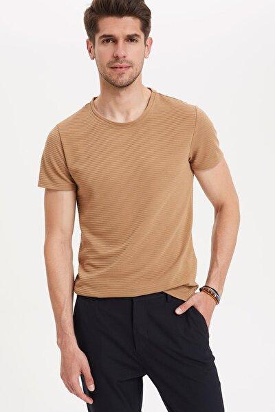 Erkek Kahverengi Slim Fit T-shirt