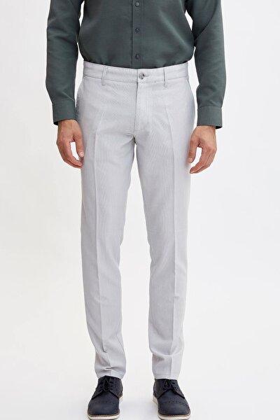 Erkek Gri Çizgili Slim Fit Pantolon K3263AZ.19SM.GR253