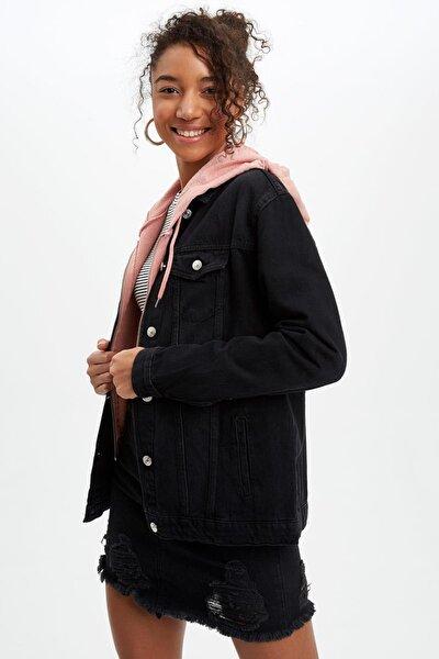 Kadın Siyah Kot Oversize Fit Jean Ceket J4288AZ.20SP.NM40