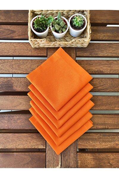 Modern Turuncu Kumaş Servis Peçetesi 6'lı Set