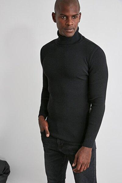 Siyah Erkek Slim Fit Lastik Örgü Balıkçı Yaka Triko Kazak TMNAW20MG0031