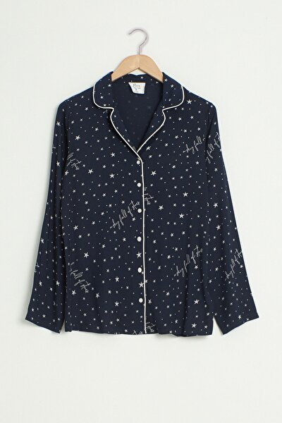 Kadın Lacivert Baskılı Pijama Takım 0W7592Z8