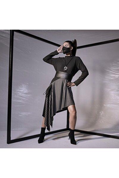 Kadın Gri Örme Kemer Ve Kolye Aksesuarlı Elbise