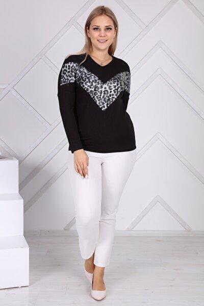 Kadın Siyah Büyük Beden Sweatshirt