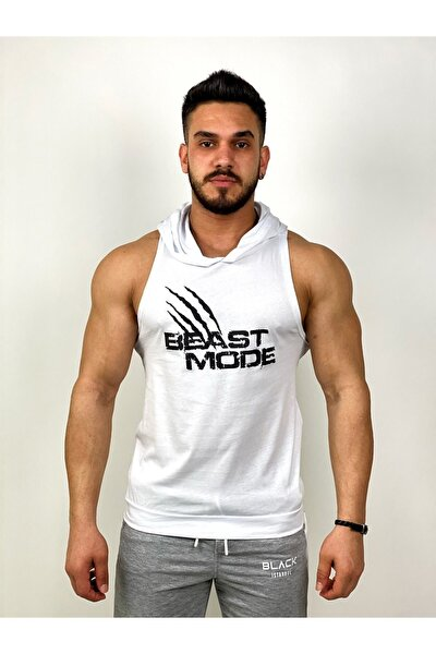 Erkek Beyaz Beast Mode Kapüşonlu Fitness Atleti