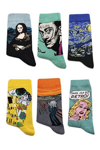 Unisex Renkli Dünya Klasikleri Tabloları Desenli 6'lı Çorap Seti