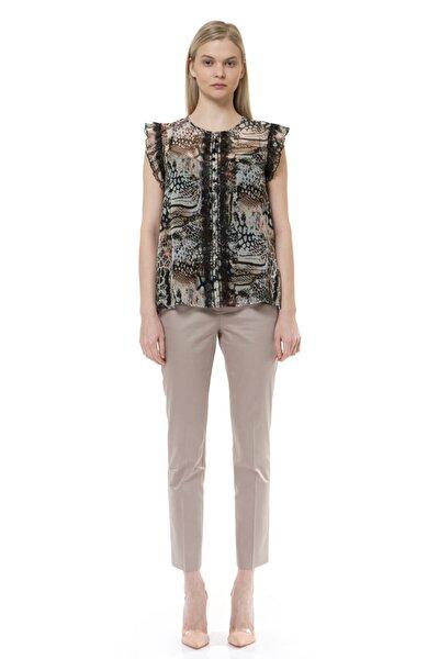 Kadın Kahverengi Volan ve Dantel Detaylı Bluz