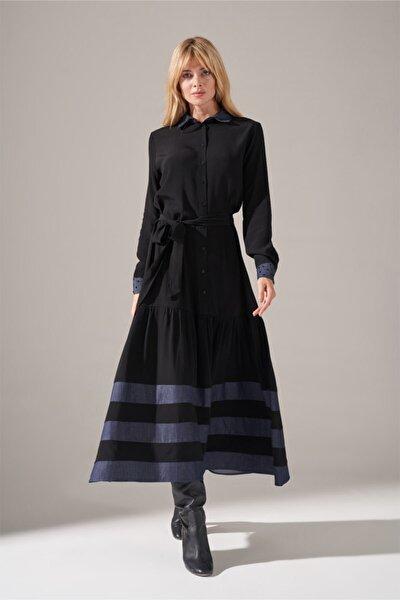 Kadın Siyah Denim Detaylı Gömlek Elbise