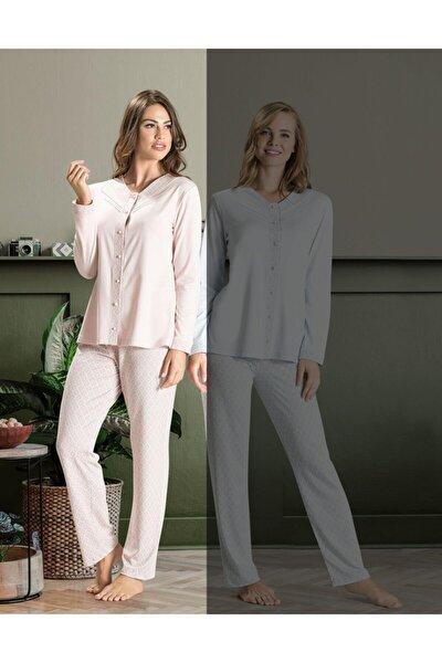 6575 Bayan Uzun Kol Pijama Takımı / Yeni Sezon