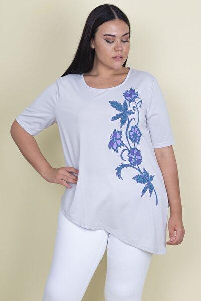 Kadın Taş Çiçek Baskılı Asimetrik Kesim Bluz 65N18301