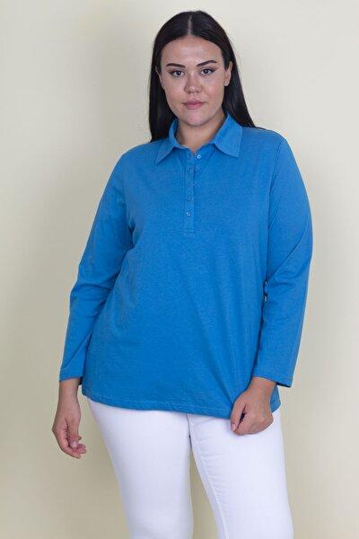 Kadın Mavi Pamuklu Kumaş Polo Yaka Ön Pat Düğmeli Uzun Kollu Bluz 65N18249