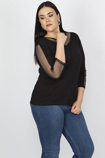 Kadın Siyah Tül Detaylı Viskon Bluz 65N18251