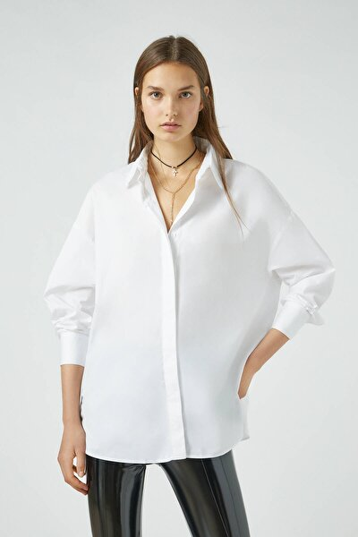 Kadın Beyaz Düz Renk Oversize Poplin Gömlek 09470356