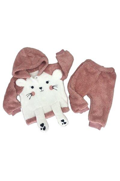 Kız Bebek Pembe Peluşlu Welsoft Sevimli Tavşan Nakışlı Pati Aksesuarlı Takım