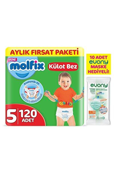 Külot Bez 5 Beden Junior Aylık Fırsat Paketi 120 Adet + Evony Maske 10'lu Hediyeli
