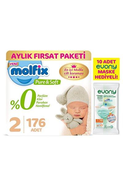 Pure&soft 2 Beden Mini Aylık Fırsat Paketi 176 Adet + Evony Maske 10'lu Hediyeli