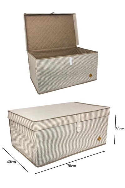 Kahverengi Çizgili Mega Plus Çok Amaçlı Kutu 70x40x30 cm