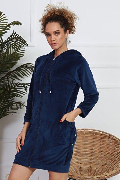 Kadın İndigo Lycralı Kadife Ev Elbisesi Gecelik