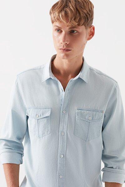 Çift Cepli Açık İndigo Gömlek