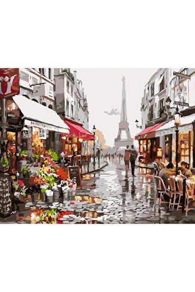 Sayılarla Boyama Tablo Seti Kanvas Fırça Boya Dahil 40x50 CM - Paris