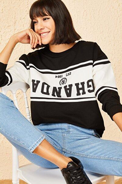 Kadın Siyah Ghanda Baskılı Sweatshirt