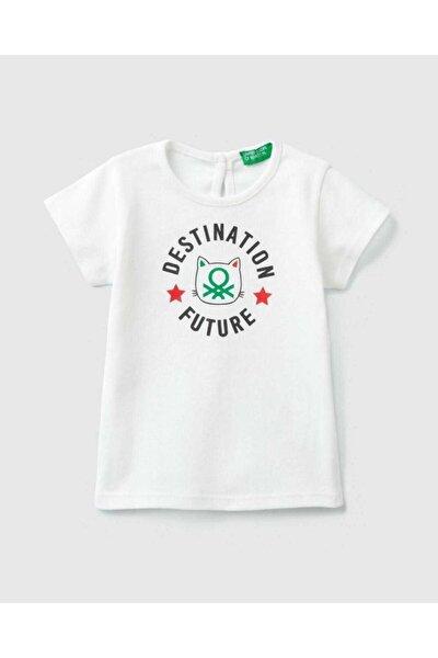 Kız Çocuk Ekru Logolu Baskılı T-Shirt