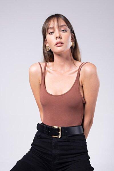 Kadın Kahverengi Dört Askılı Jana Bodysuit