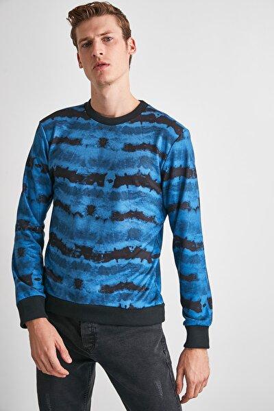 Indigo Erkek Baskılı Bisiklet Yaka Regular Sweatshirt TMNAW21SW0488