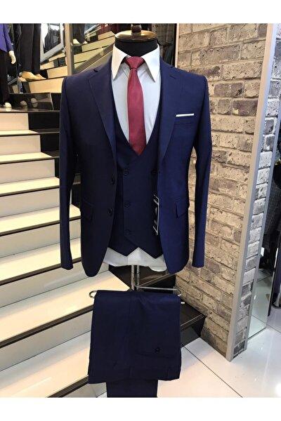 Erkek Lacivert  Mono Yaka Slimfit Yelekli Kendinden Desenli Iki Düğme Yün Takım Elbise