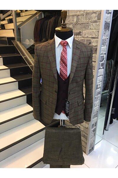 Erkek Kahverengi  Mono Yaka Slimfit Yelekli Ekose Tek Düğme Yün Takım Elbise