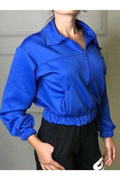 Kadın Mavi Fermuarlı Göbek Üstü Sweatshirt
