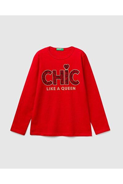 Kız Çocuk Kırmızı Ekose Desenli Baskılı Tshirt