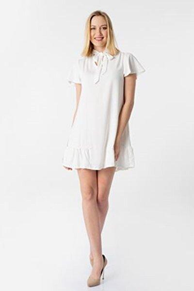 Kadın Ekru Yakası Kuşaklı Fırfırlı Elbise Y-5802