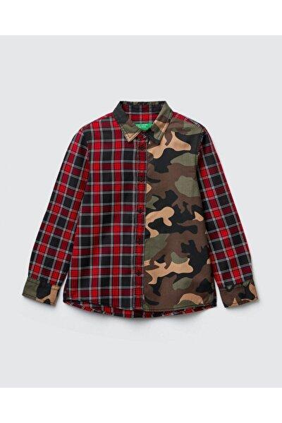 Erkek Çocuk Kırmızı Kamuflaj Ekose Desenli Gömlek