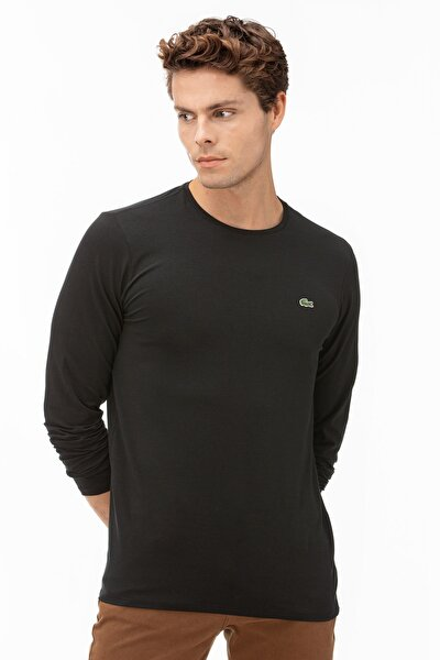 Erkek Regular Fit Uzun Kollu Bisiklet Yaka Siyah T-Shirt