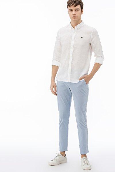 Erkek Slim Fit Çizgili Mavi Pantolon HH0902