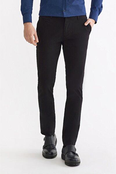 Erkek Siyah Yandan Cepli Armürlü Slim Fit Pantolon A92Y3091