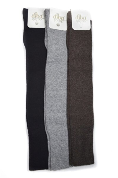3 Adet Diz Üstü Lambswool Yün Diz Üstü Kışlık Kadın Çorap