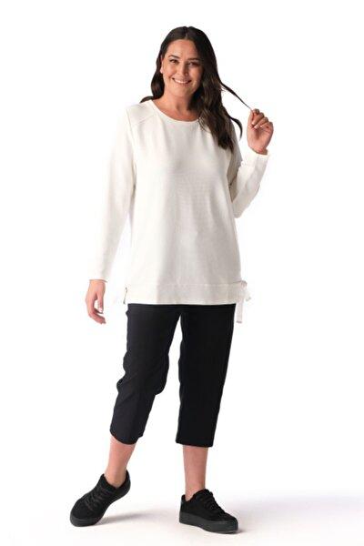 Kadın Ekru Fiyonk Detaylı Sweatshirt