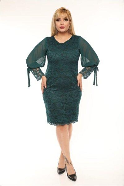 Kadın Yeşil Büyük Beden Güpür Kolu Şifon Abiye Elbise