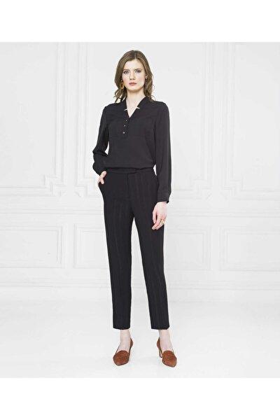 Kadın Siyah Parlak Şeritli Pantolon