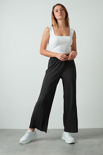 Kadın Antrasit  Yüksek Bel Geniş Paça Pantolon
