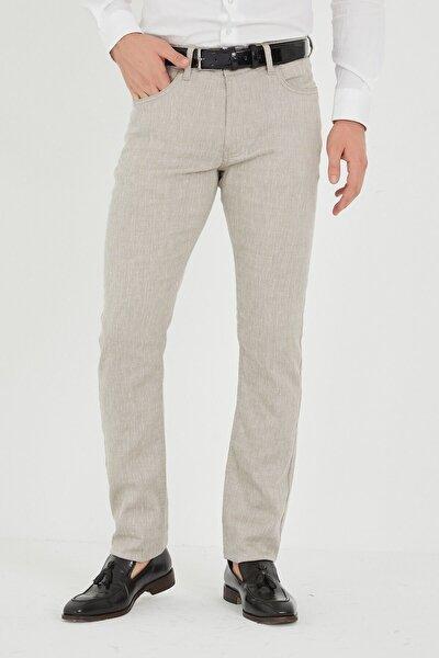 Erkek  Bej Keten Pantolon
