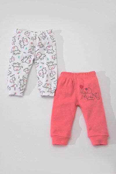 Kız Bebek Beyaz Pembe Pamuklu Filli İkili Patiksiz Pantolon LG-4864-FIL