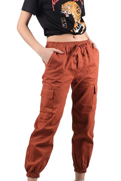 Kadın Beli Paçası Lastikli Kargo Pantolon